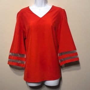 New. Red Blouse - V-neck, Wide 3/4 sleeves